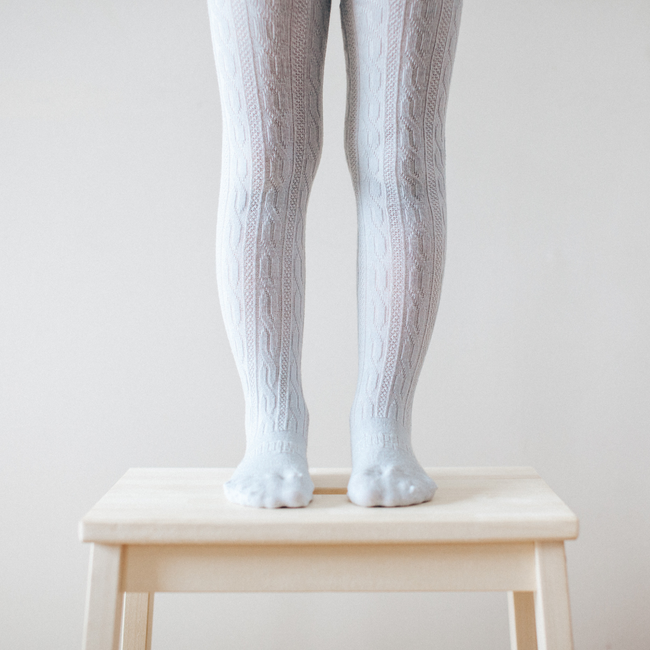 Merino Wool Tights - Snow Grey Cable