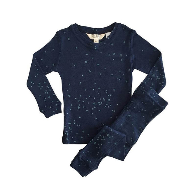 Childrens Layer Set Wool Pyjamas - Indigo Stars