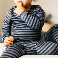 Childrens Layer Set Wool Pyjamas - Indigo Stripes