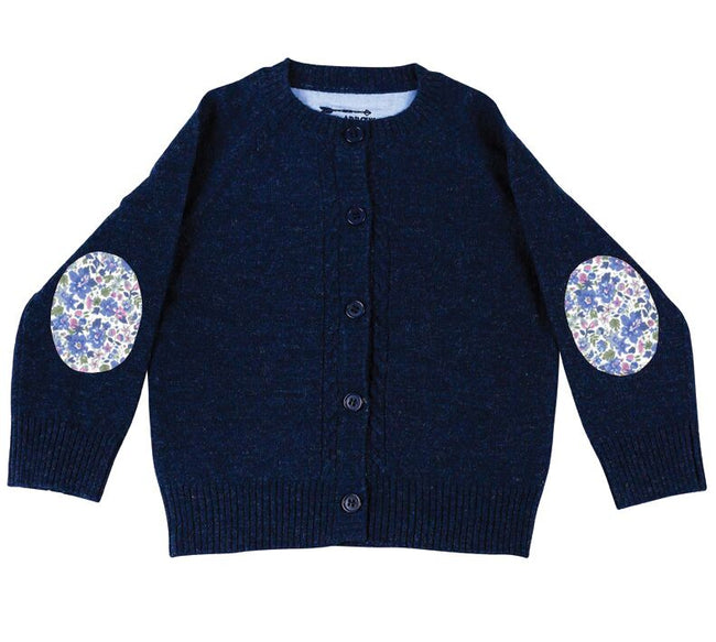 Childrens Navy Cardigan with Liberty Patches