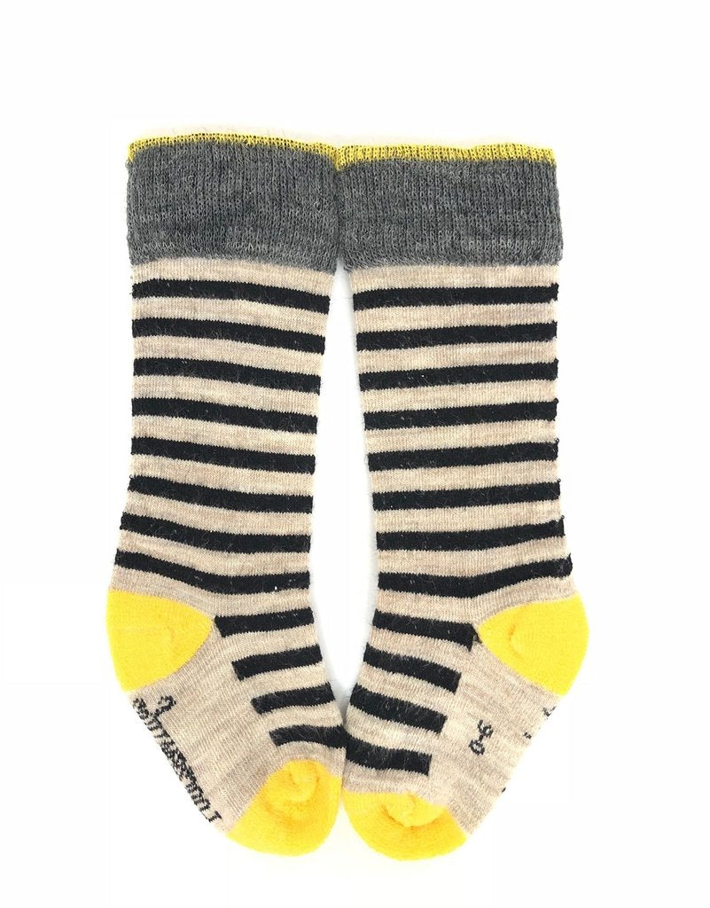Merino Socks Knee High - Black & Taupe Stripe