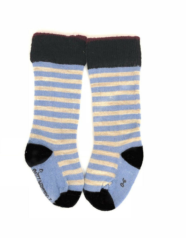 Merino Socks Knee High - Blue & Taupe Stripe