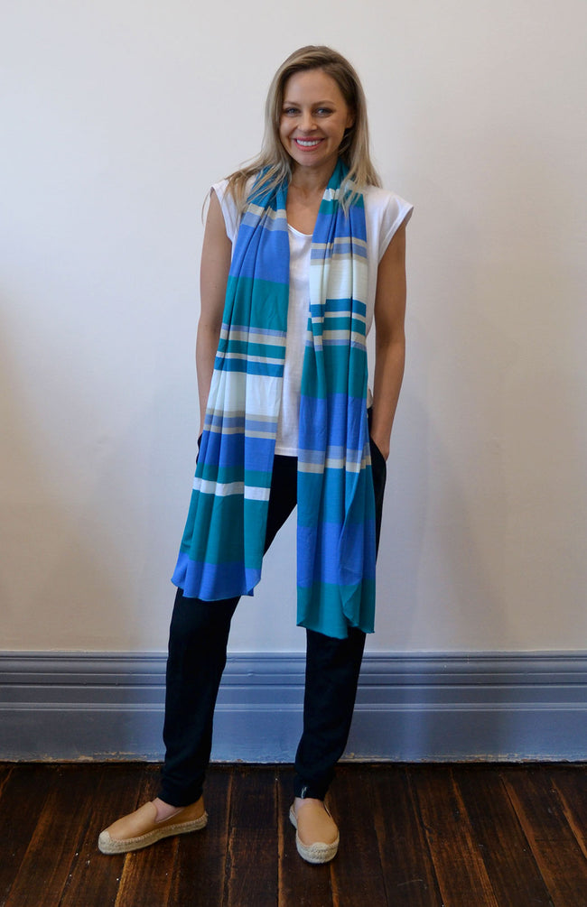 Women's Superfine Merino Wool Classic Wide Scarf - Lapis Blue Multi Stripe