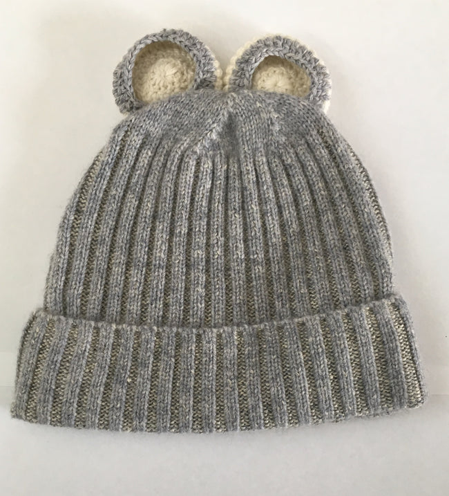 Soft Grey Bear Beanie