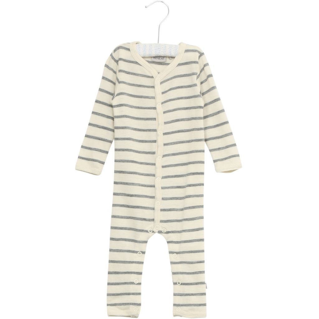 Jumpsuit Wool Striped Melange Grey