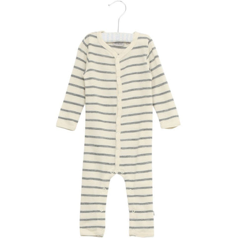 Merino All in One with Zip Jumpsuit Green Stripe