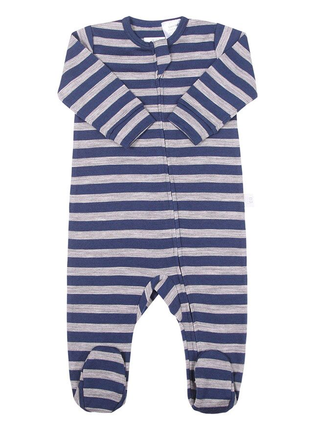 Merino All in One Zip Jumpsuit Navy Stripe