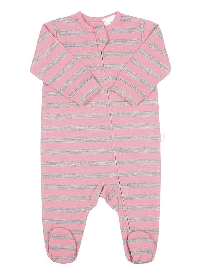 Merino All in One Zip Jumpsuit Pink Stripe