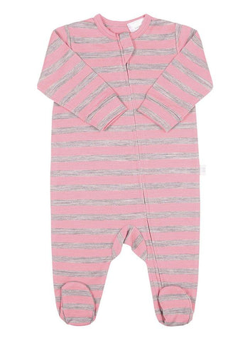 Merino All in One Zip Jumpsuit Grey Stripe
