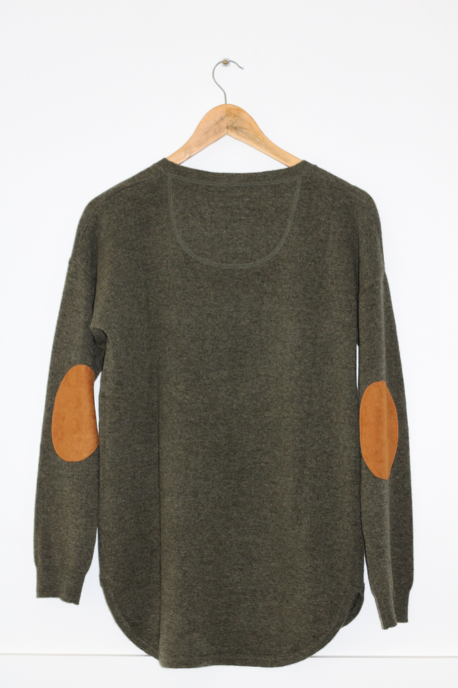 Women's Khaki Jumper with Tan Patches