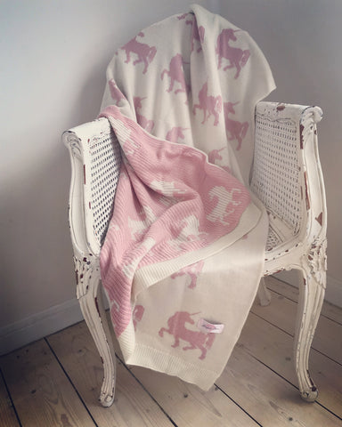 Blush Pink and Grey Cable Knit Throw