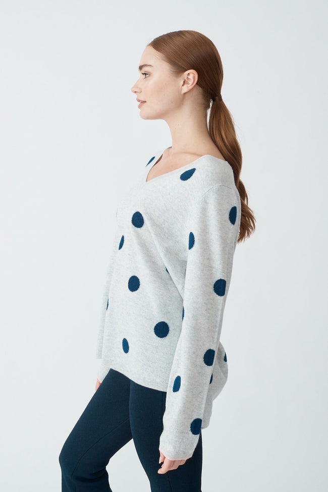 Womens Dolly Spot Sweater - Snowstorm