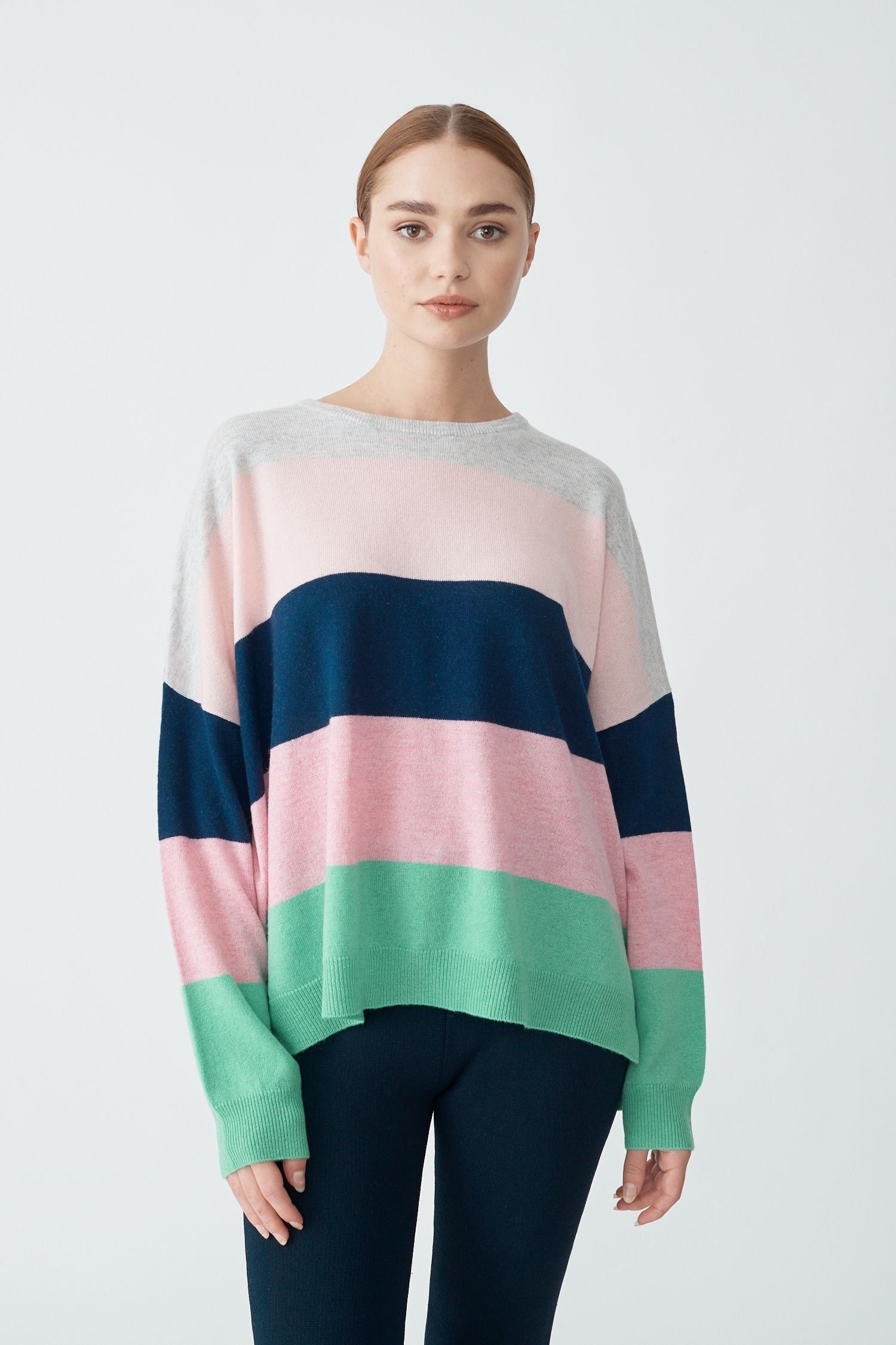 Womens Crystal Stripe Crew Sweater - Pine