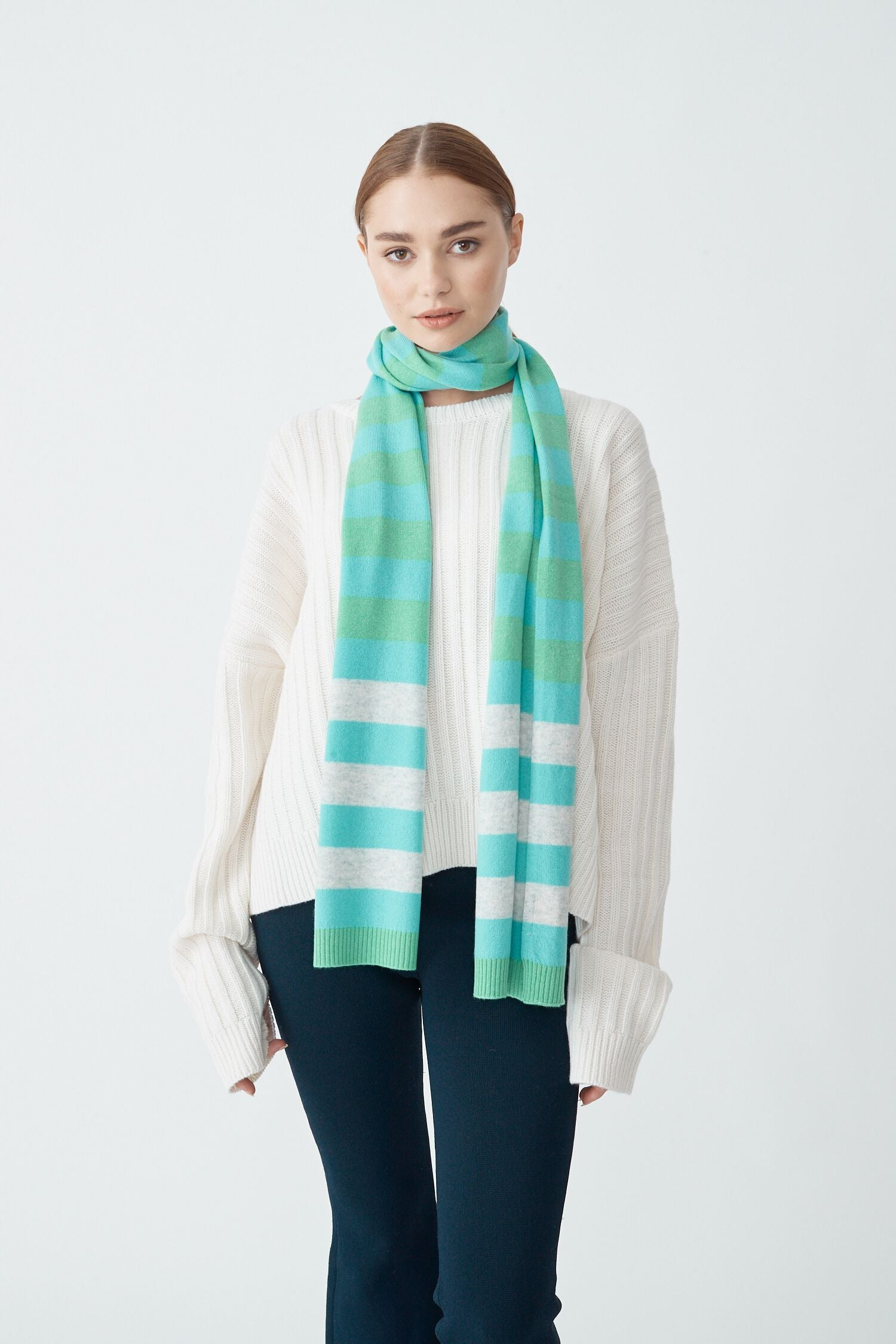 Womens Molly Scarf - Pale Jade/Snow