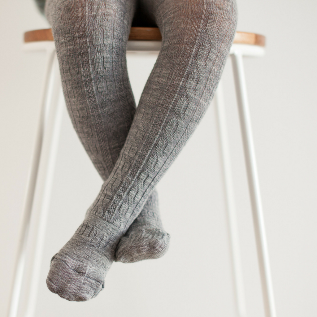 Merino Wool Tights - Grey Cable