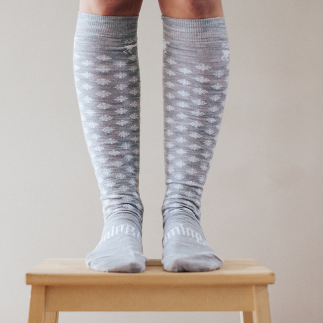 Women's Merino Wool Socks Knee High - Snow Globe