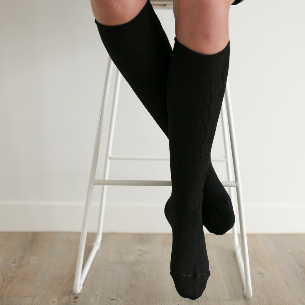 Women's Merino Wool Socks Knee High - Black Cable