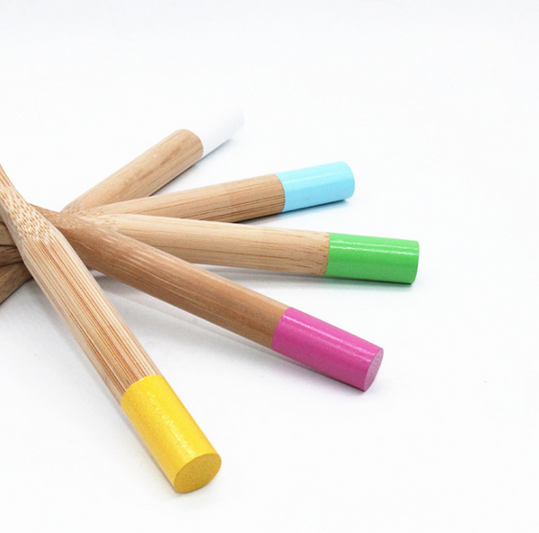 Natural Bamboo Toothbrush Biodegradable Wooden Eco-friendly Teeth Kids Case Tube Handmade Travel Tooth Brush-5 Colors