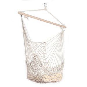 Outdoor Hanging Swing Cotton Hammock Chair Solid Rope Yard Patio Porch Garden