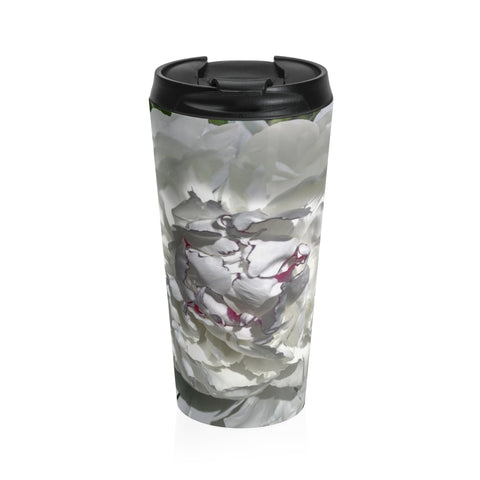 White Peony - Stainless Steel Travel Mug 15 oz