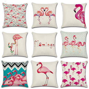45*45cm Tropical Flamingo Saying Freedom Passion Cushion Cover Linen Throw Pillow Home Decoration Decorative Pillowcase
