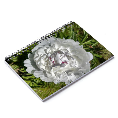 White Peony Spiral Notebook - Lined Pages
