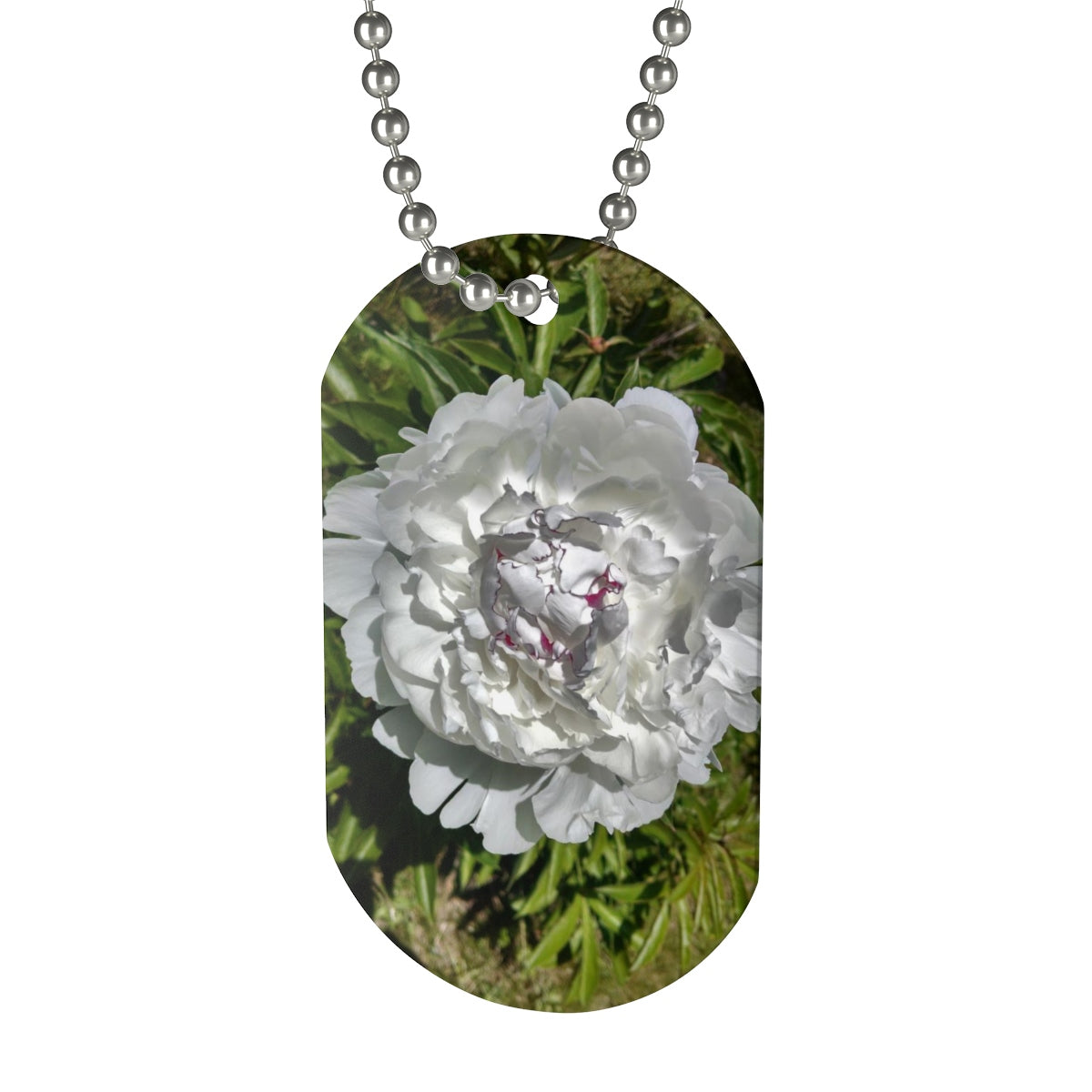 White Peony Dog Tag Necklace