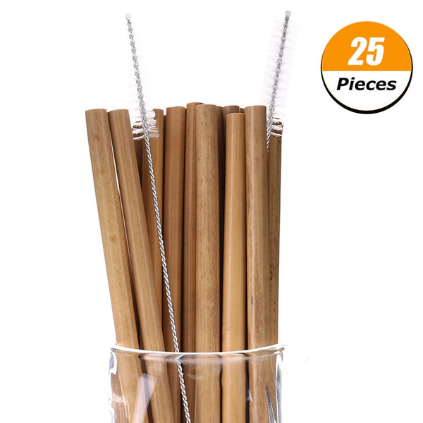 25 Pcs Bamboo Straw Reusable Straw 20cm Organic Bamboo Drinking Straws Natural Wood Straws For Party Birthday Wedding Bar Tool