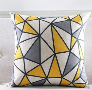 Yellow Geometric Decorative Cotton Linen Cushion Cover Grey Grid Printed Sofa Throw Pillow Chair Home Decor Pillow Case