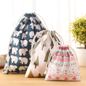 Fresh Fabric Cotton Travel Drawstring Tote Storage Bag Organizer Bag For Underwear Toy Storage Bag