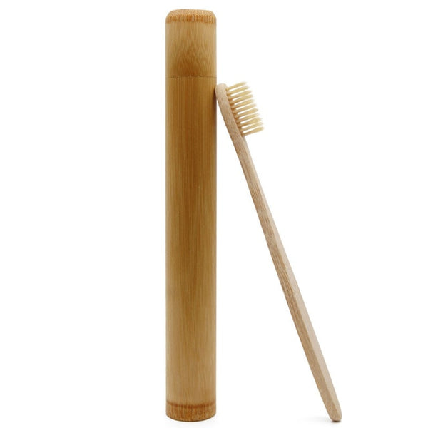 Genkent 1 PCS Bamboo Toothbrush Novelty Wooden Teeth Brush soft-bristle Bamboo Fibre Wooden Handle Bamboo Tube Charcoal Set