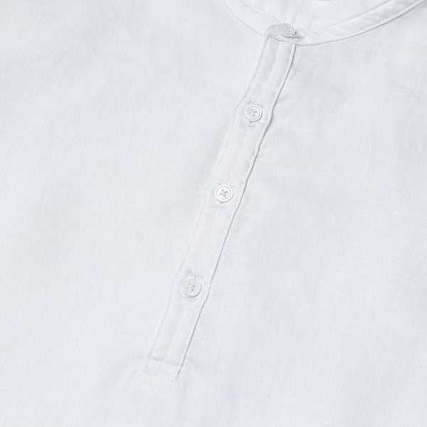 Summer Short sleeved Shirts Men 100% Linen White Solid Color