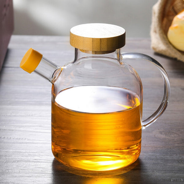 Glass Oil Bottle Kitchen Supplies Spice Jar High Boron Glass Oil Pot Condiment Bottle with Bamboo Cover 650ml