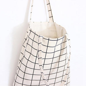 Canvas Tote Bag Casual Beach HandBag Eco Shopping Bag Daily Use Foldable Canvas Shoulder Bag Plaid Canvas Tote