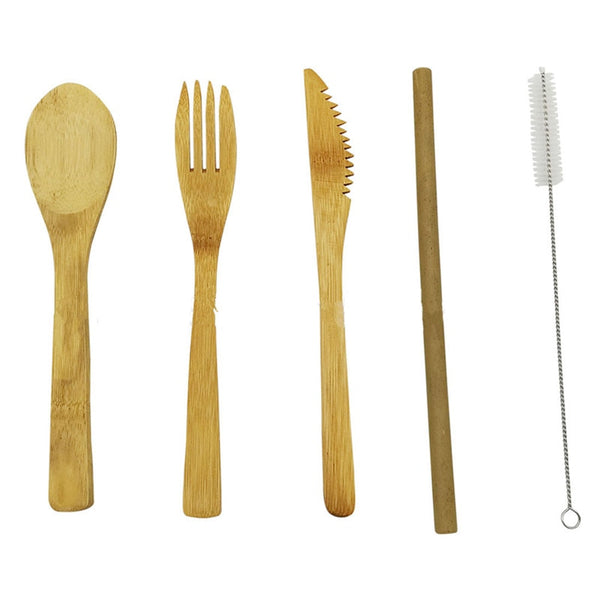 5Pcs/set Japanese Wooden Dinnerware Set Cutlery Set Bamboo Fork Knife With Cloth Bag Kitchen Tools picnic travel camping outdoor