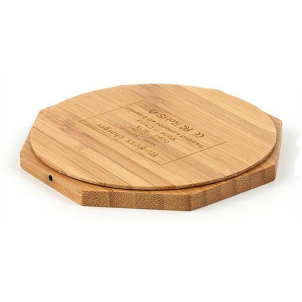 Heart Shape Wood Bamboo Qi Wireless Charger Desktop Charging Pad For iPhone
