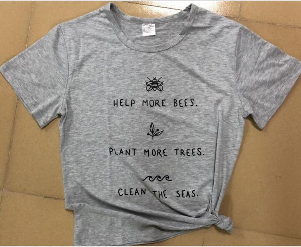 Help More Bees 90s Aesthetic Graphic T Shirts Plant More Trees White Top O neck 100% Cotton Tees Tshirt