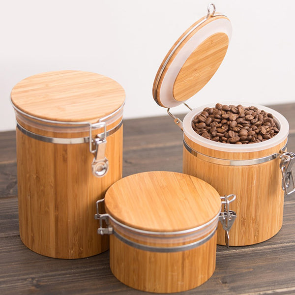Tank Food Spice Sealed Kitchen Storage Jar Tea Round Lid Nuts Cans Container Bamboo Grains