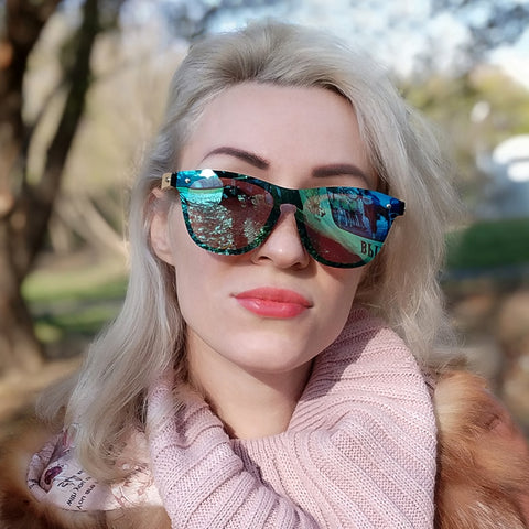 Wooden Sunglasses For Women Fashion Brand Designer UV400 Mirror Lenses Bamboo Sunglasses For Men