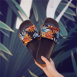 Forest Bamboo Shoes Woman Badslippers Summer Indoor Slippers Zapatos De Mujer Beach Flip Flops Bathroom Home Slippers