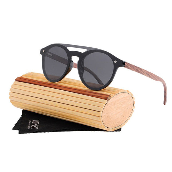 Handmade Wood Sunglasses Men Round Bamboo Sunglasses For Women Brand Designer Retro Wooden Frame UV400 Sun Glasses LS5030