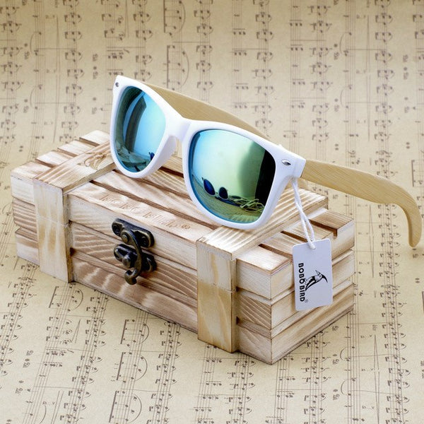 Bobobird Rectangular Oversized Bamboo Wood Sunglasses