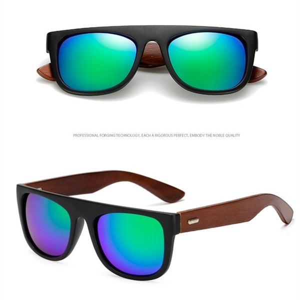 Bamboo Wooden Arms Sunglasses Men Women Black Sunglass Male UV400 Sun Glasses Driver Goggles Wooden Eyewear Shades