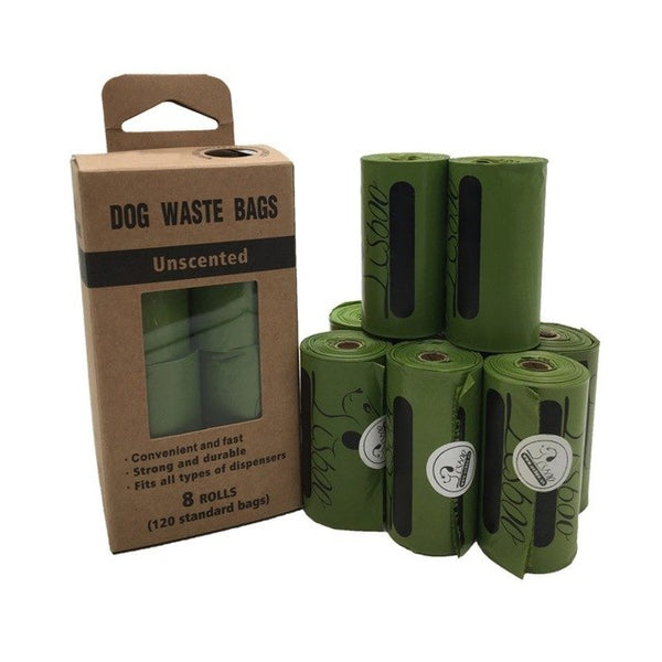 Dog Poop Bags Earth-Friendly 8 Rolls Large Oxo-Biodegradable Dog Waste Bags Doggie Bags Waste Pick Up Cleaning Bag