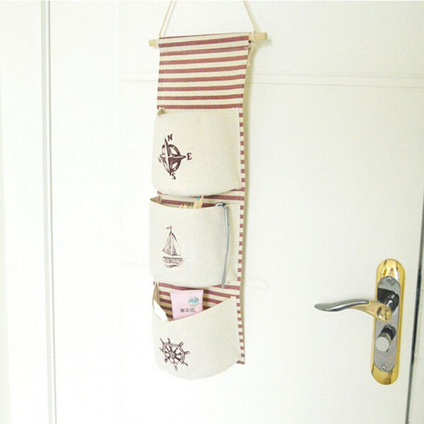 Flamingo Pattern Cotton Linen Hanging Storage Bag 3 Pockets Wall Mounted Wardrobe Hang Bag Wall Pouch Cosmetic Toys Organizer
