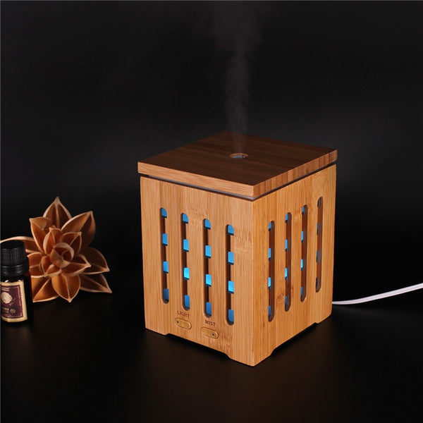 Real Bamboo Essential Oil Diffuser Ultrasonic Aromatherapy Diffusers with 7 LED Colorful Lights and Waterless Auto Shut