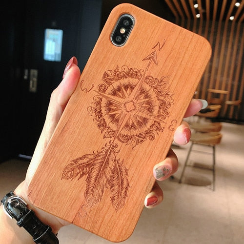 Laser Engraving Real Wood Cell Phone Case for iPhone XS MAX XR 7 8PLUS X Wooden Unique Shock Customized Bamboo Phone Cover Shell