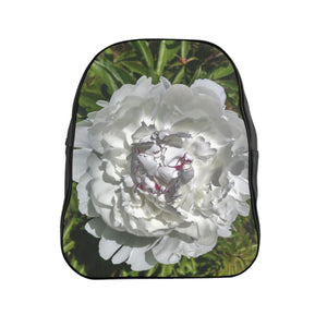 Vegan Leather School Backpack White Peony Collection