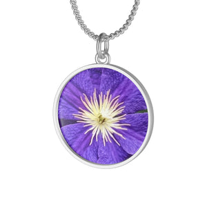 Purple Clematis Single Loop Necklace