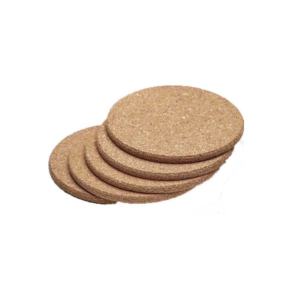Absorbent, Eco-Friendly, Reusable Natural Cork Cup Mat 5pc